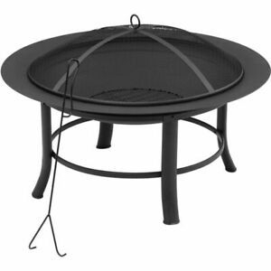 Mainstays MS46-001-001-00 28 Inch Fire Pit with PVC Cover and Spark Guard - Bla…
