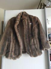 Next Size 10 Faux Fur Jacket brown animal print broach design luxury