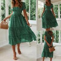 Summer Women Short Sleeve Long Pleated Dress Ladies Holiday Boho Floral Sundress