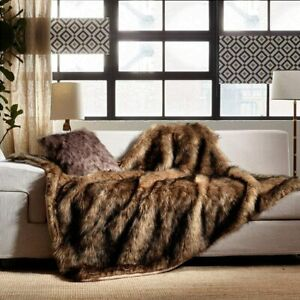 80 X 60 HUGE Luxury Plush Faux Fur Throw Blanket, Long Pile Gorgeous Brown