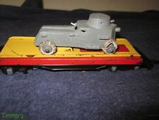 American Flyer 715 S Ga. Automatic Unloadikng Flat Car w/U.S. Army Armored Car