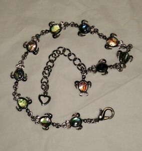 NWOT Silver Tone And Abalone Turtle Anklet