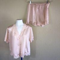 Vintage 80s 90s Ilusion Salmon Lingerie Nighty Shorts & Top Set Lace Trim L