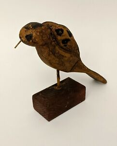 Hand Carved Wood Hand Painted Primitive Shore Bird Art Sculpture Figure Vintage