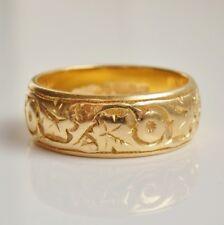 Finest Vintage 22ct Gold Foliate Engraved Wedding Band Ring c1962; Size 'K 1/2'