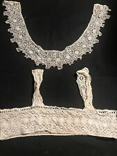 Antique Victorian Edwardian Lace Crochet Collar & Bra Top Stunning Ecru Beige