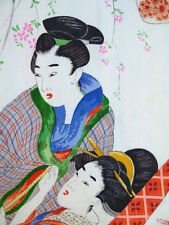 Vintage Japanese Kimono WOMAN HAORI Coat Aged 1920 Antique Design Art Silk H871