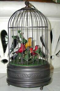 Singvogelautomat, antikes Finish, mit drei singenden Vögeln im Käfig