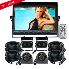 "9"" Quad Split Monitor 12V/24V 4PIN IR 4x Reversing Rearview CCD Camera Truck Bus"