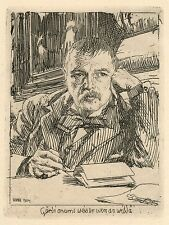 "Anders Zorn original etching ""Self Portrait"""