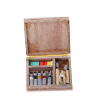 1/12 Scale Dollhouse Miniature Craft Wooden Watercolor Paint Tool Box Set