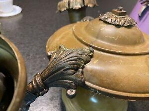 Antique 1920s 3Light Brass Pan Hanging Ceiling Light Fixture