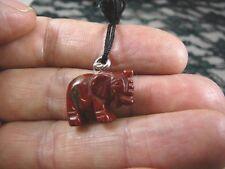 (an-ele-6) baby red Jasper Elephant gemstone carving Pendant Necklace elephants