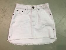 NWT ONE TEASPOON WOMEN'S DENIM 2020 MINI SKIRT IN WHITE BEAUTY SIZE 26