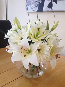 ARTIFICIAL FLOWERS ARRANGEMENT, LUXURY LILIES GERBERA BOUQUET GLASS BOWL & WATER