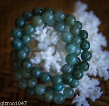 One Polished not DYED Dark Jade Green 9 mm AGATE stone Bracelet