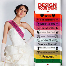 PERSONALISED LUXURY DELUXE SUPER METALLIC GOLD SILVER HEN PARTY DO SASHES SASH