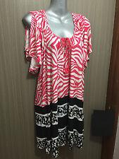 BNWT Womens Sz 14 Autograph Brand Stunning Pink & Black Summer Tunic Top RRP $60
