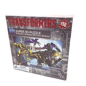 """2014 Transformers Super 3D Puzzle 18""""X12"""" 150 Piece Milton Bradley New Sealed"""