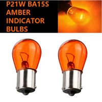 2x P21W BA15s 382 12v Amber/Orange Indicator Light Car Bulbs (Opposite Pins)