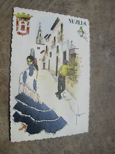 Esperon postcard - Embroidered Spanish Flamenco Lady - Sevilla Spain
