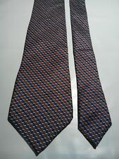 Christian Dior Men's Vintage Silk Tie in a Red Blue and White Geometric Pattern