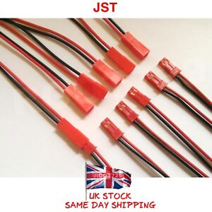 JST Connector Pair Plug + Socket 2pin Battery leads Red + Black Wire 180mm UK
