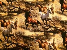 Fat Quarter Wild Wings Independence Pass Horses Cotton Quilting Fabric- Springs