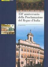 """Folder filatelico """" 150° PROCLAMAZIONE REGNO D'ITALIA """" Anniversario 150° anni"""