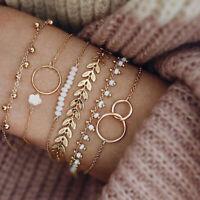 6 Stück / Set Boho Armband Set Frauen Quasten Blätter Kreisförmige Ketten ArmXUI