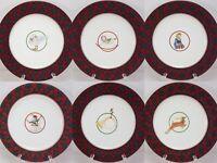 Arita Tartan Salad Plates Set of 6 Christmas Accent Plates Red Green Plaid 7-5/8