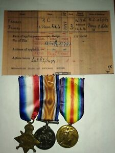 WW1 1914-15 Mons Star medal trio to 2371 Sapper James Fraser Royal Engineers