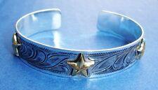 """Western Jewelry ~Gold Star~ Cuff Bracelet Everbrite 2 5/8"""" ID"""