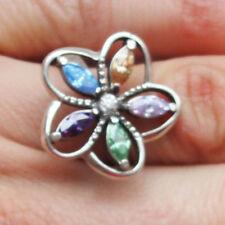 AMETHYST Ring TOPAZ Sterling Silver RING genuine gemstone size Q handmade flower