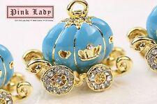 H384 Cute Blue Princess Pumplin Carriage Charm Pendant Wholesale (3 pcs)