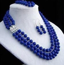 8mm 3rows Do not fade lapis lazuli necklace bracelet earring sets