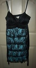 Speechless Spaghetti Straps Dress Black Lace over Turquoise Size L