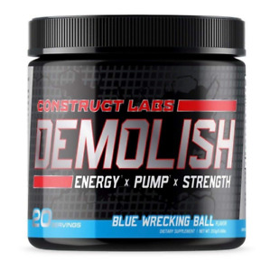 DEMOLISH Pre workout - Blue Wrecking Ball. BEST PUMP, ENERGY, and FOCUS!