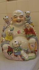 Large Amazing Vintage Chinese Porcelain Happy Laughing BUDDHA With 5 Kids