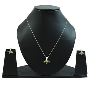 Natural Peridot Gemstone Earring Necklace Set 925 Sterling Silver Jewelry L34
