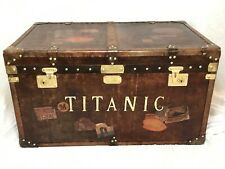 Large Handmade Leather Steamer Luggage Chest Coffee Table Titanic Brass Fixtures