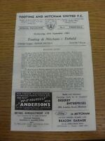 18/09/1963 Tooting And Mitcham United v Enfield  (Four Pages, Score Noted).  Thi