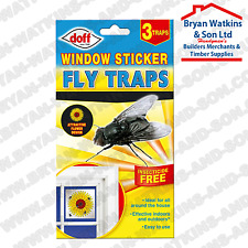 Doff Fly Killer Trap Window Sticker Original Sunflower Catcher Pack of 3