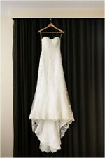 Maggie Sottero Emma wedding dress lace satin sweetheart neckline size 8 white