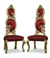 Pair Of French Style,Gold Leaf,Crimson silk upholstery,Hand Carved ,Chairs