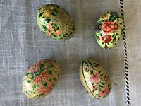 Vintage Set Of 4 Hand Painted Paper Mache Lacquered Solid Eggs Made in Kashmir