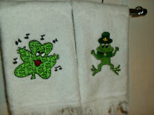 Fingertip towels white cotton 1888 Mills Irish embroidered design 2