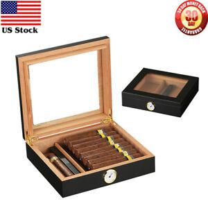 Portable Cigar Humidor Case Box Hygrometer Humidifier Cedar Wood Glass Desktop