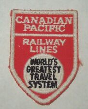 """Vintage Canadian Pacific Railway Lines """"World's Greatest Travel System"""" Patch"""