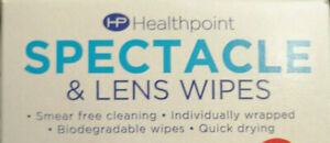 Healthpoint Spectacle and Lens cleaning Wipes Glasses Smear Free 1 to 52 wipes